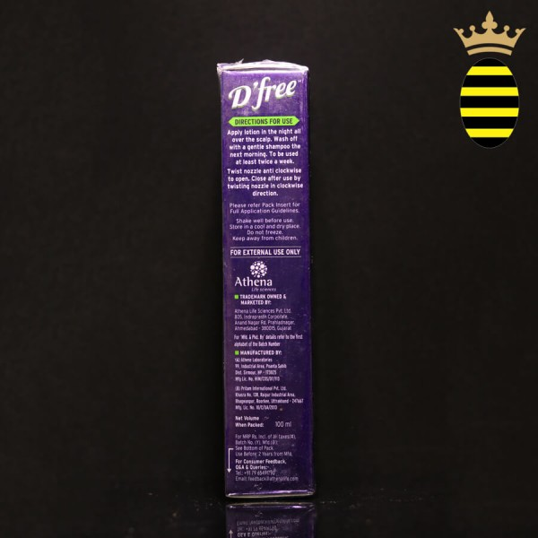 D' FREE OVERNIGHT ANTI DANDRUFF LOTION 100ML