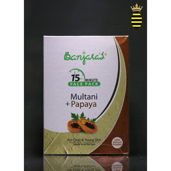 Banjara's 15 Minute Face Pack Powder Multani Papaya 100g (20x5)