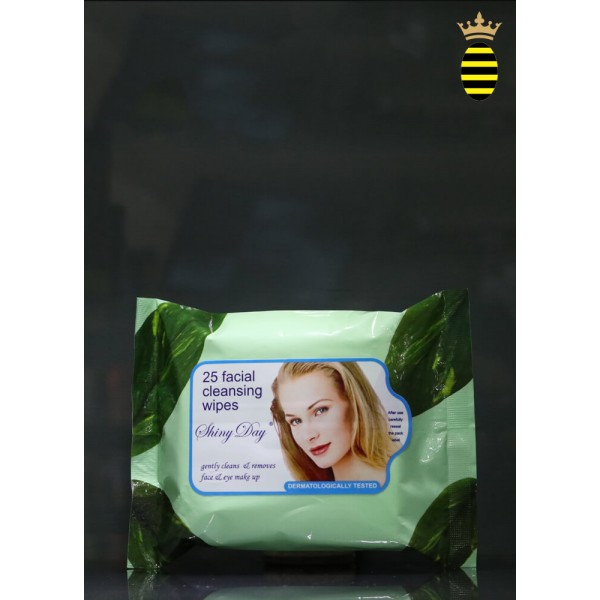 Shiny Day Cleansing Wipes Aloe and Pure Lanolin (25 Facial Cleansing Wipes) Light Green