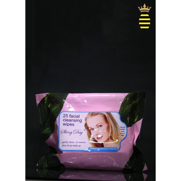Shiny Day Cleansing Wipes Aloe and Pure Lanolin (25 Facial Cleansing Wipes) Pink